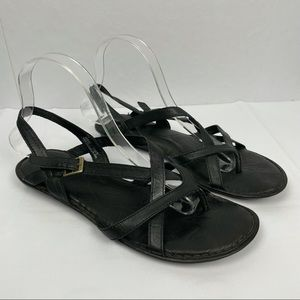 Born Mai Black Leather Strappy Flat Sandals Size 9